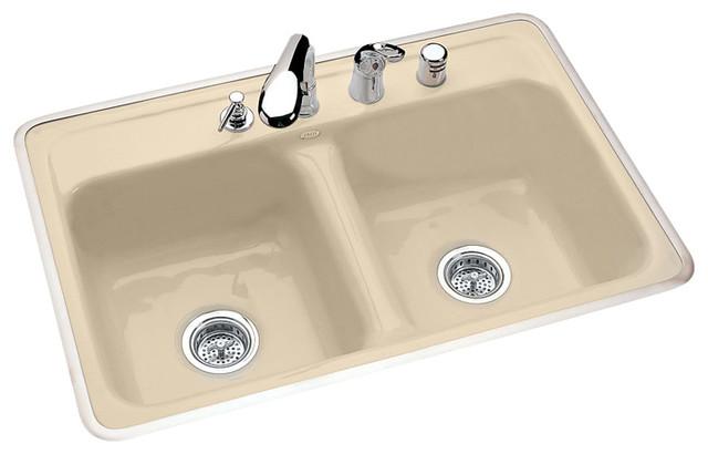 Double bowl tile or rim mount transitional kitchen - Kitchen sink rim ...