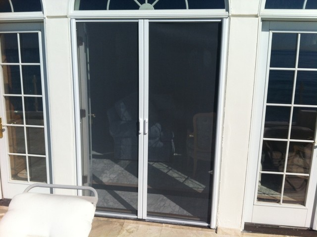 Double door retractable screens for Retractable screen door for double french doors