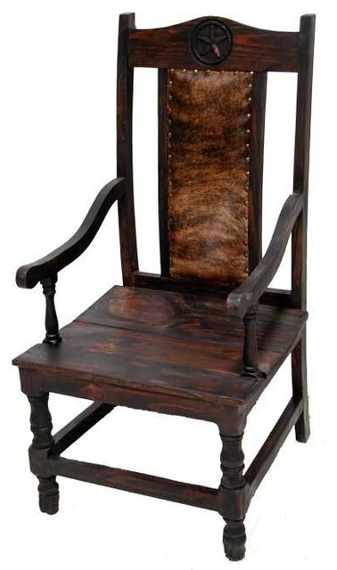 armoire cowhide chair with star detail southwestern dining chairs
