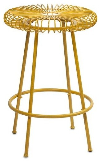 Ellie Yellow Metal Stool Contemporary Accent And