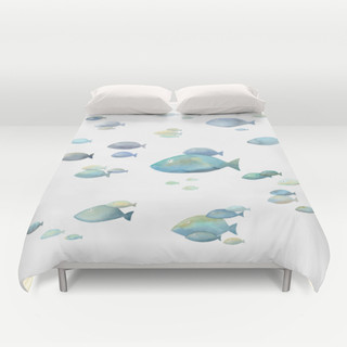 School of fish watercolor duvet cover bord de mer housse de couette et parure de lit for Parure de lit bord de mer