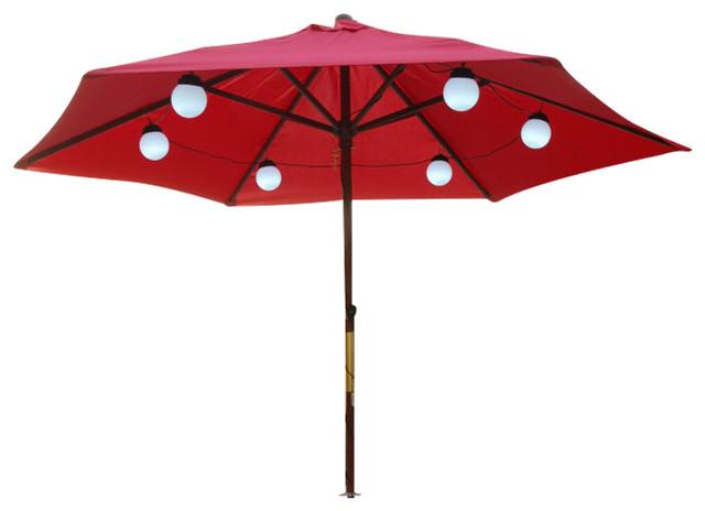 6 solar powered umbrella globe lights bright white led. Black Bedroom Furniture Sets. Home Design Ideas