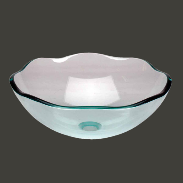 Vessel Sinks Light Green Glass 8 Petal Vessel Sink 10897 Modern Bathroom Sinks
