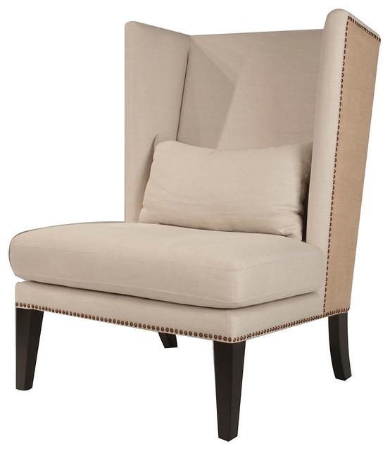 Archie wingback chair oatmeal linen contempor neo - Sillones contemporaneos ...