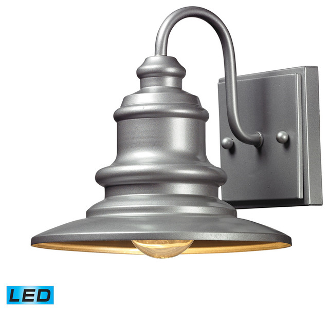 Industrial Exterior Wall Sconces : ELK Lighting 47020/1-LED Marina Matte Silver Outdoor Wall Sconce - Industrial - Outdoor Wall ...