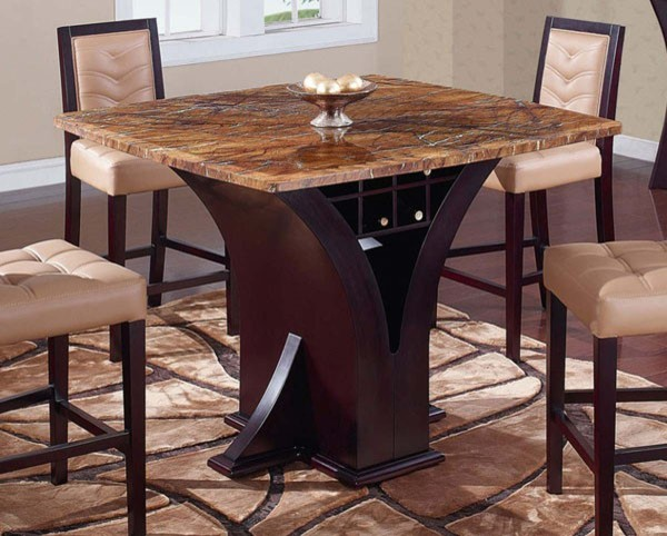 Global Furniture D800BT Square Marble Top Bar Table with  : modern indoor pub and bistro tables from www.houzz.com size 600 x 482 jpeg 81kB