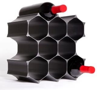 Black Winehive 10 Bottle Modular Wine Rack Contemporary