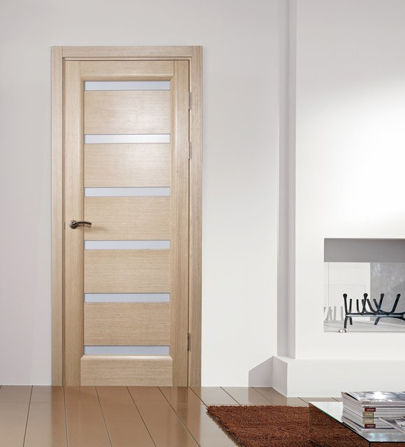Tokyo white oak modern interior door with frosted glass for Glass front interior doors