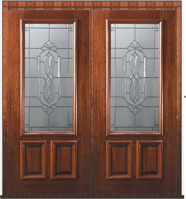 Mediterranean Style Front Doors: Prehung Double Door 80 Wood Mahogany Kensington 2/3 Lite