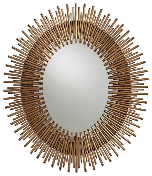 Arteriors prescott oval small mirror gold leaf for Prescott mirror