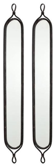 Tall narrow mirrors set of 2 transitional wall for Tall narrow wall mirrors