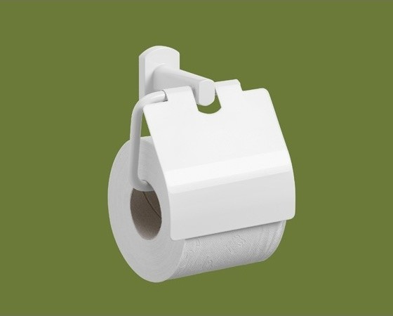 Lacquered White Toilet Roll Holder With Cover