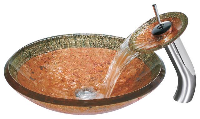 Mediterranean Bathroom Sinks: Janus Glass Vessel Sink And Waterfall Faucet
