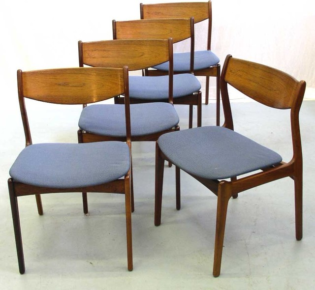 Rosewood Dining Chairs With Blue Upholstered Seats Modern Dining Chairs
