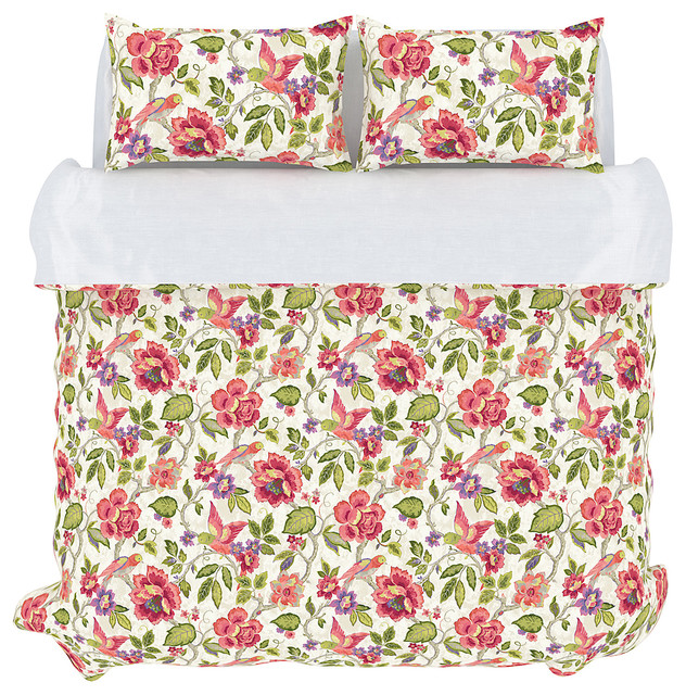 Tess duvet cover set full queen orchid campagne for Housse de couette translation