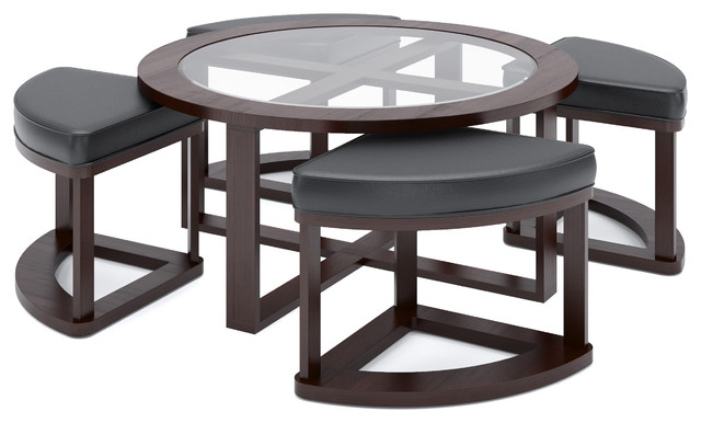 Belgrove Dark Espresso Stained Coffee Table With 4 Stools