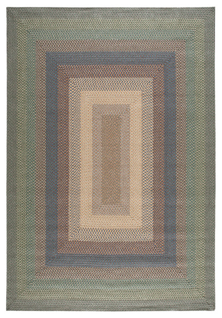 "Nourison Craftwork Braided Spruce 2 3"" x 7 Oval Runner Rug by R"