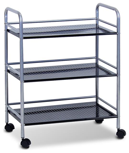 Black Metal Wide Three-Tray Rolling Cart - Modern - Bar Carts