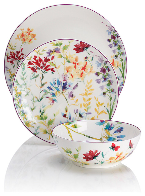 Spring Meadow 12 Piece Dinner Set Traditional