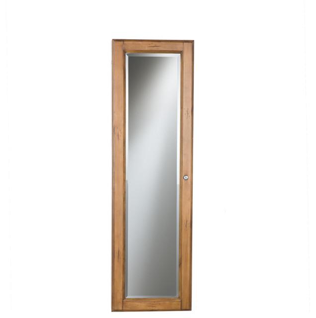 Sophia Wall-Mount Jewelry Mirror, Oak - Contemporary - Wall Mirrors - by Shop Chimney