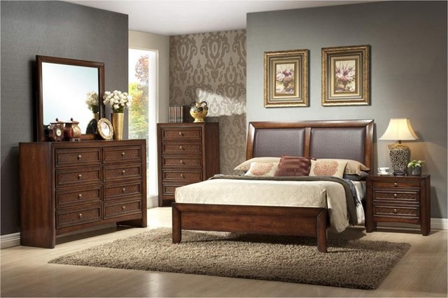 Crown mark 5 pc bali traditional walnut finish king for Mark v bedroom volume