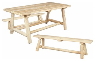 Rustic Cedar Outdoor Dining Table W Bench Farmers Rustic Outdoor