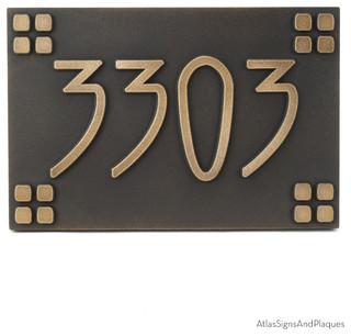 american craftsman address plaque 12 x 8 in brass patina. Black Bedroom Furniture Sets. Home Design Ideas