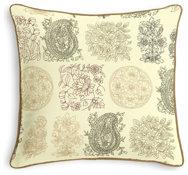 Blockprint Metallic Paisley Throw Pillow - Traditional - Decorative Pillows - by Loom Decor