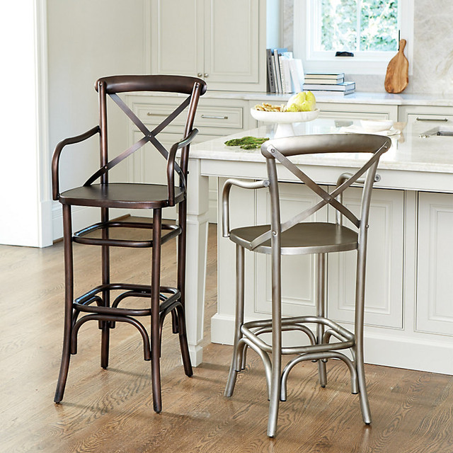 ballard designs constance metal counter stool with arms