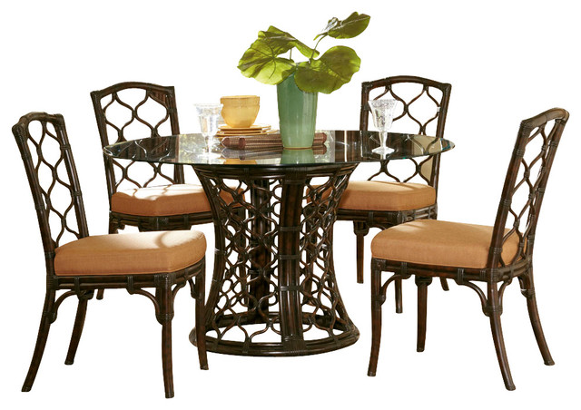 hammary boracay 5 piece round glass dining room set in