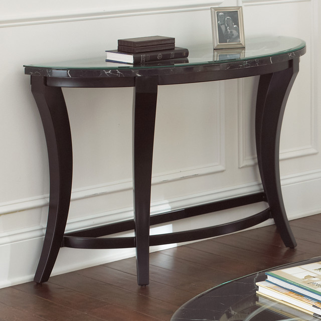 Steve Silver Cayman Sofa Table W Faux Marble Glass Top