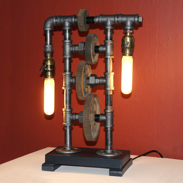 Steampunk Gear and Pipe Fittings Lamp - Industrial - Table Lamps - portland maine - by Lamp Revival