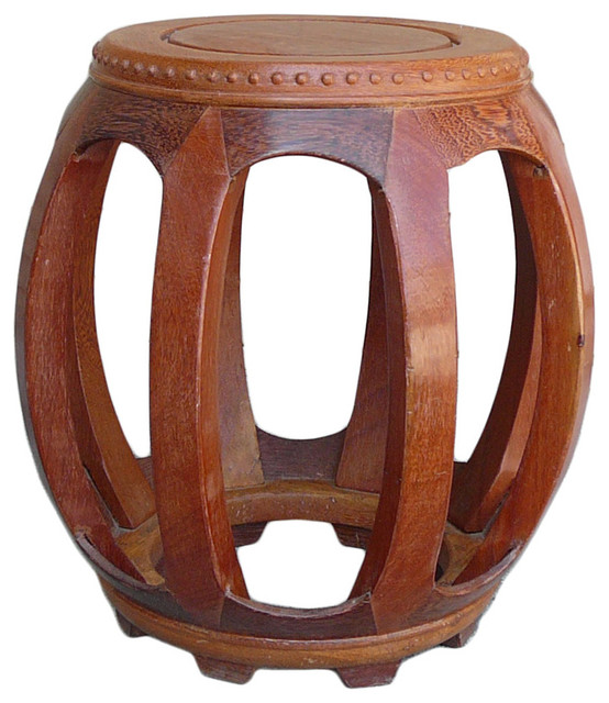 Consigned chinese solid wood huali barrel round stool