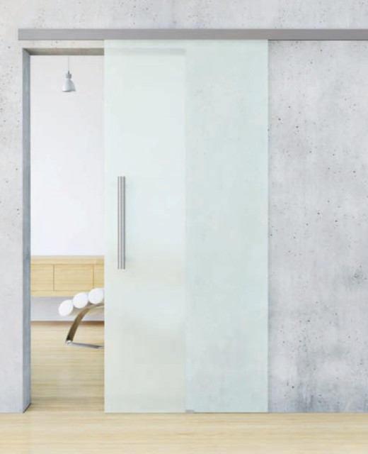 Glass barn door contemporary interior doors - Contemporary glass doors interior ...