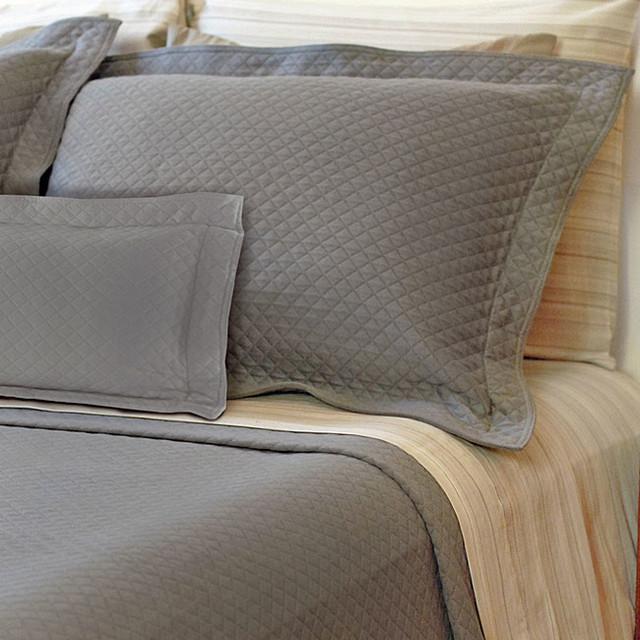 diamante grey matelasse standard size sham contemporary. Black Bedroom Furniture Sets. Home Design Ideas