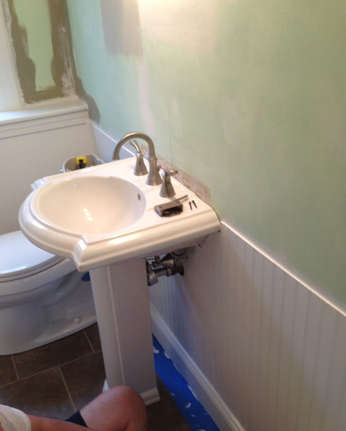 Wainscoting Running Into Pedestal Sink Help