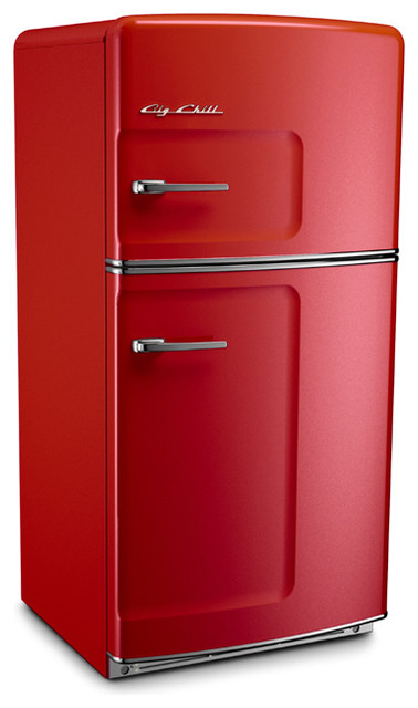 Retro Fridge, Cherry Red, Without Ice Maker - Midcentury - Refrigerators - by Big Chill