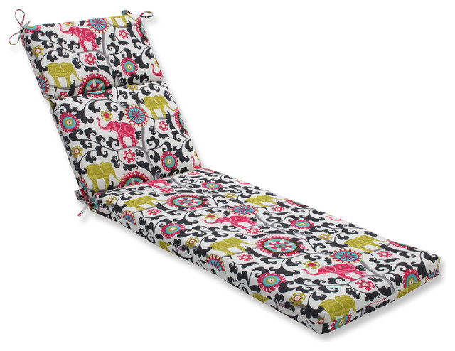 Menagerie spectrum chaise lounge cushion black for Black and white chaise lounge cushions