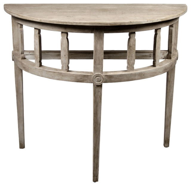 Demilune Table with a Medium Antique Painted Finish Farmhouse Console Tab