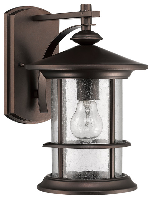 Transitional Outdoor Wall Lights : Ashley Superiora Transitional 1-Light Rubbed Bronze Outdoor Wall Sconce - Contemporary - Outdoor ...