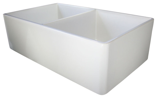 White Double Bowl Farmhouse Sink : ... White 32