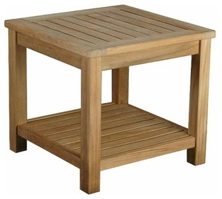 Bristol Teak Outdoor Side Table Modern Outdoor Dining Tables By