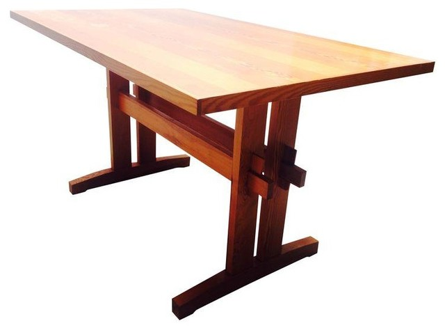 Solid Wood Dining Table With Truss Base Modern Dining
