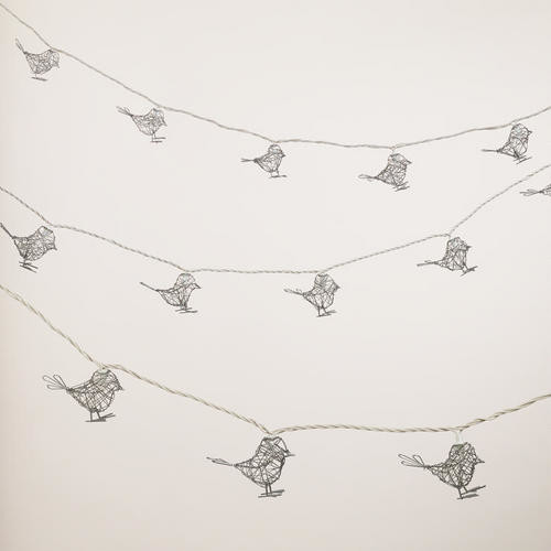 Wire Bird 10 Bulb String Lights Contemporary Outdoor