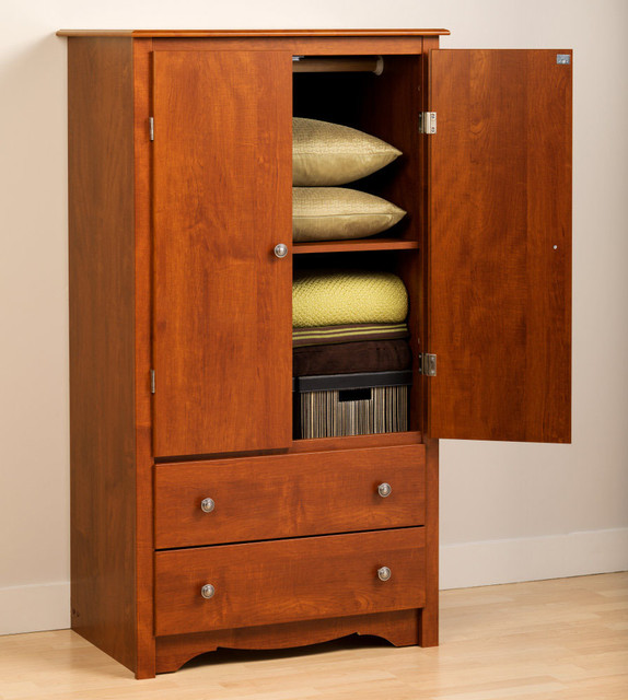 cherry monterey 2 door armoire modern armoires and wardrobes. Black Bedroom Furniture Sets. Home Design Ideas
