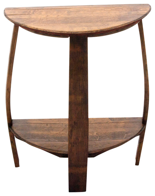Lacquer bathroom vanity - The Wine Barrel Half Round End Table Rustic Side