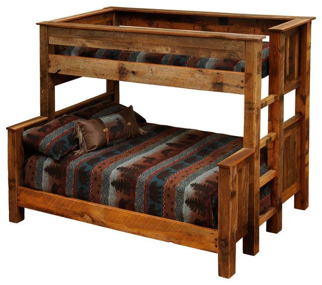 Barnwood Beds Twin Over Full Barnwood Bunk Beds Rustic