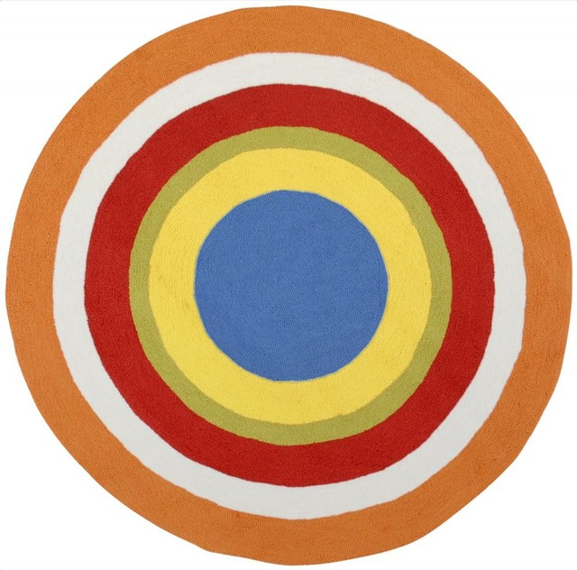 Kids playground round 8 39 round orange white area rug for Round rugs for kids