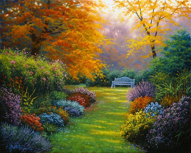 Autumn garden wall mural contemporary wallpaper for Mural garden