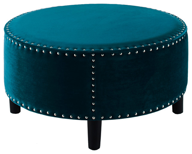 Lynn Round Beige Ottoman Teal 32 Quot X32 Quot X16 Quot Contemporary